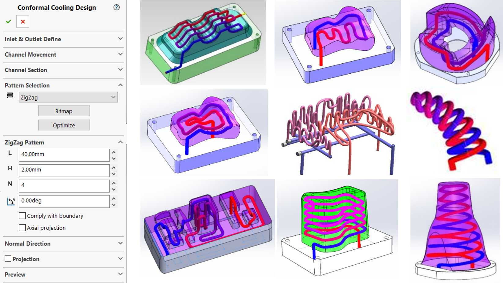 The automated conformal cooling design module provides 10 design patterns and 2 projection methods to deal with diverse moulding profiles and cooling configurations.