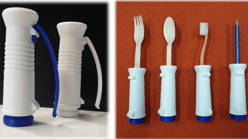 3D Printed Personalized Utensil Handles using Ultimaker. Universal adapter concept for interchangeable with different utensils.